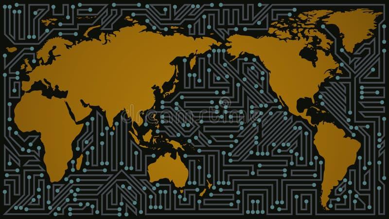 Коммуникационная сеть карты мира серых, голубых, желтых и черных теней бесплатная иллюстрация
