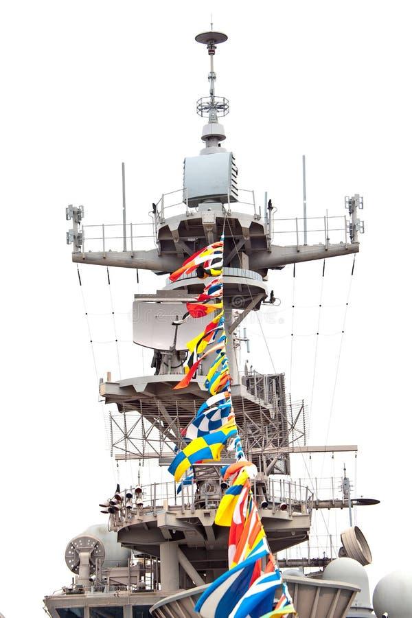 коммуникационное оборудование авианосца стоковые изображения rf