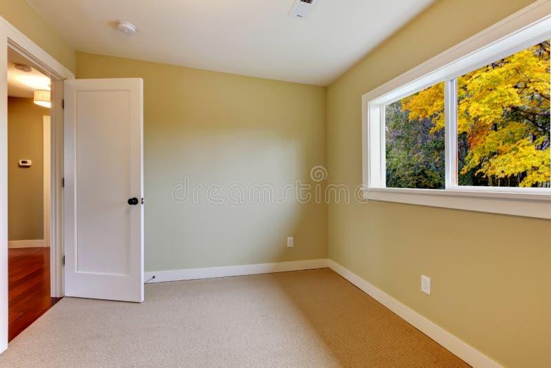комната бежевого ковра пустая зеленая новая стоковые изображения rf