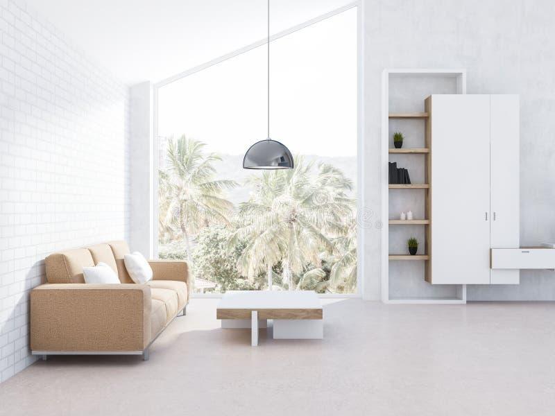Комната белого чердака живущая, бежевая софа и bookcase иллюстрация вектора