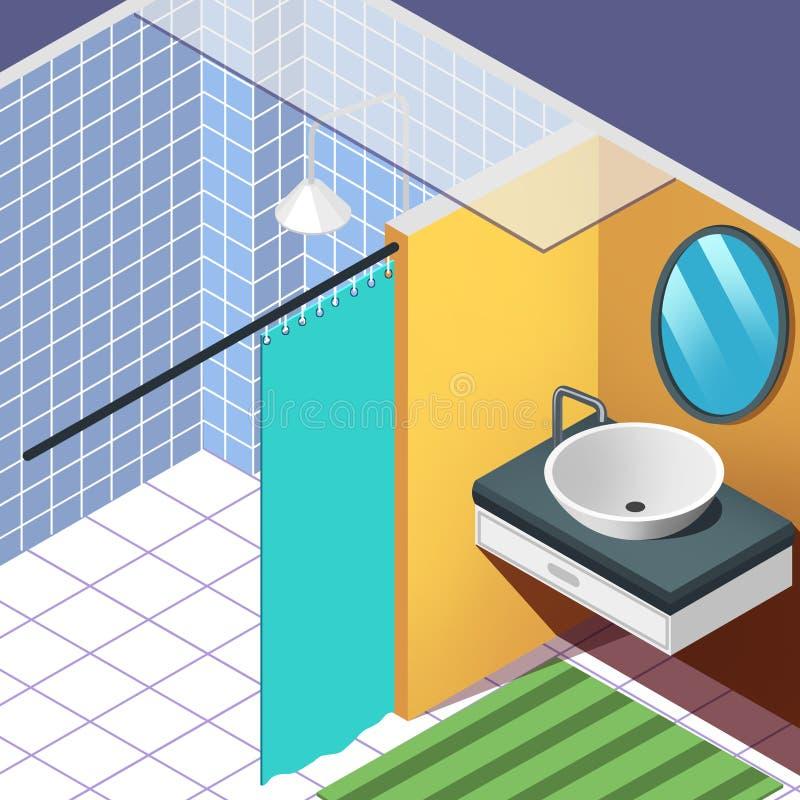Комната ванны Иллюстрация дела плоская r Реалистический мультфильм Illustratio иллюстрация вектора