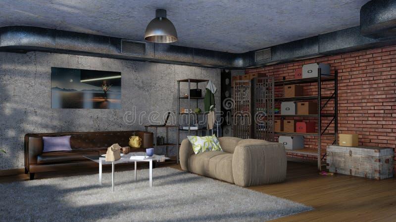 Комната внутреннее 3D минималистского стиля просторной квартиры живущая иллюстрация вектора