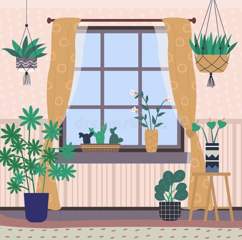 Комната внутренняя, домашняя камера с парником заводов иллюстрация штока