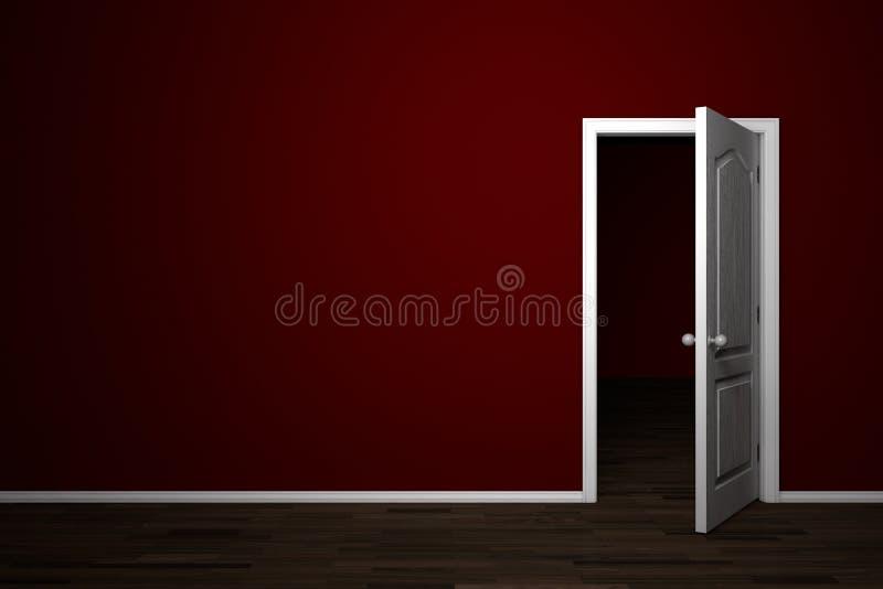 комната двери открытая красная иллюстрация вектора