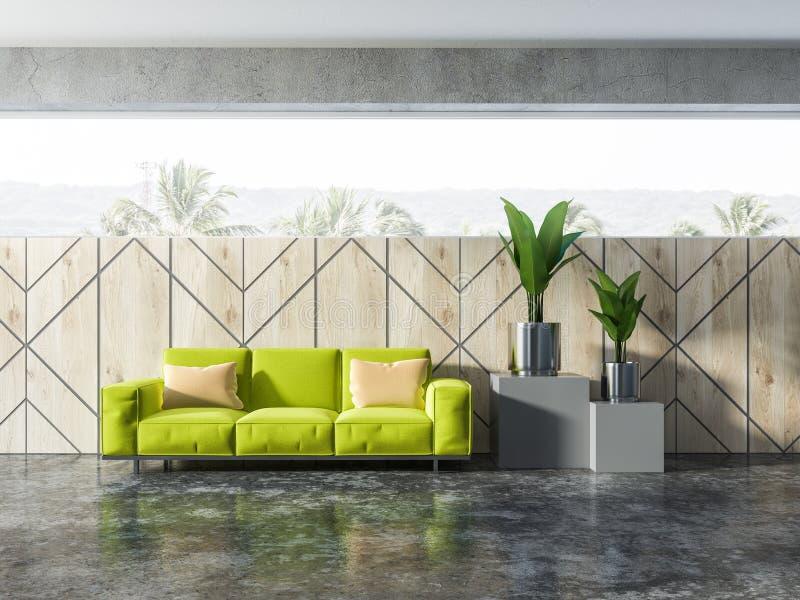 Комната деревянной картины стены живущая, зеленая софа, заводы бесплатная иллюстрация