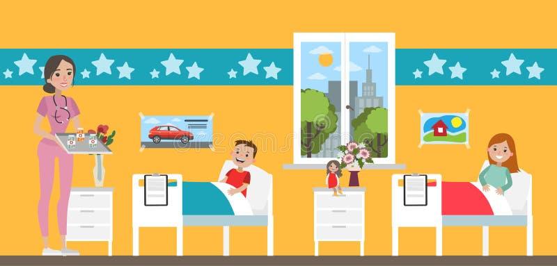 Комната детской больницы иллюстрация вектора