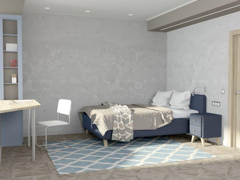 Комната для подростка в скандинавском стиле Комната с пустыми стенами и деревянными полами иллюстрация вектора