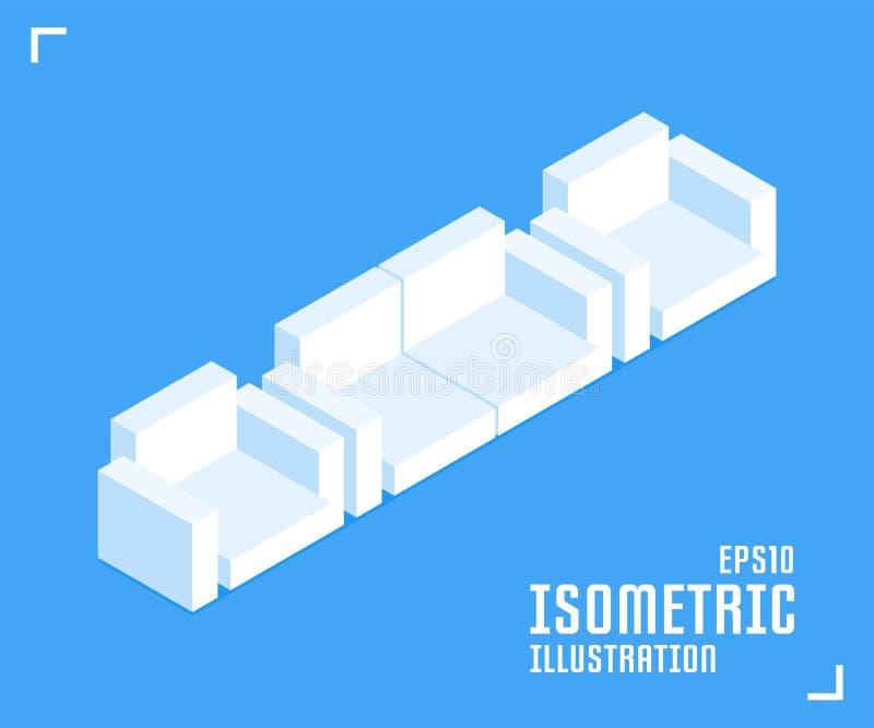 комната изображения 3d нутряная живущая Кресло, значок софы Иллюстрация вектора в плоском равновеликом стиле 3D иллюстрация штока