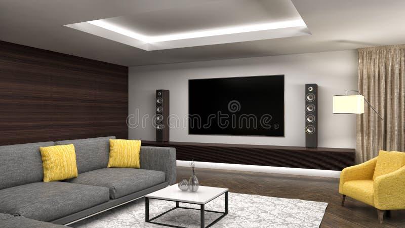 комната интерьера конструкции живя самомоднейшая иллюстрация 3d иллюстрация вектора