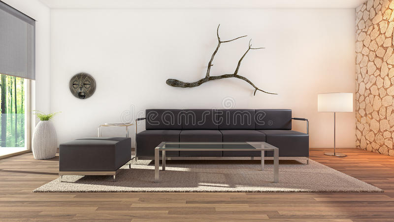 комната интерьера конструкции живя самомоднейшая стоковая фотография rf