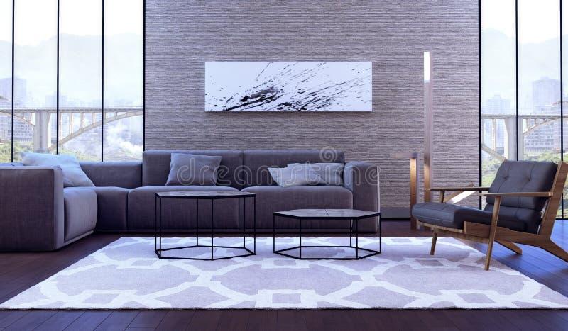 комната интерьера конструкции живя самомоднейшая стоковое изображение