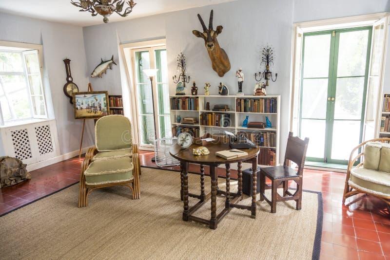 Комната исследования в доме и музее Эрнест Хемингуэй в Key West стоковое фото rf