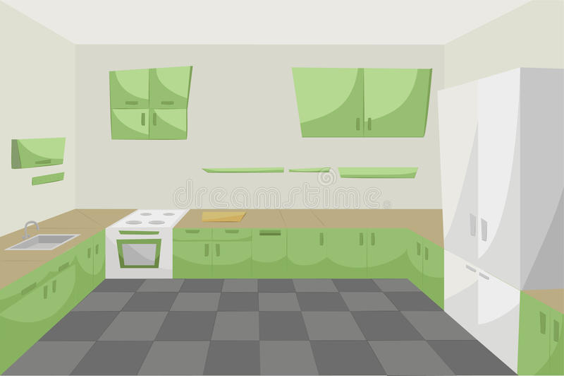 Комната кухни внутри furnitu зеленого цвета пола шкафов современного внутреннего иллюстрация штока