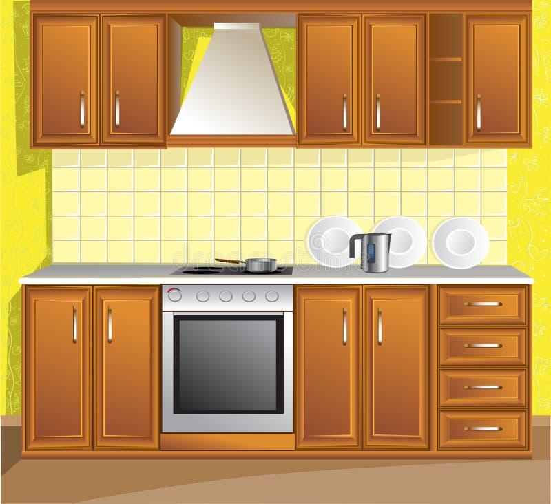 комната кухни светлая иллюстрация вектора
