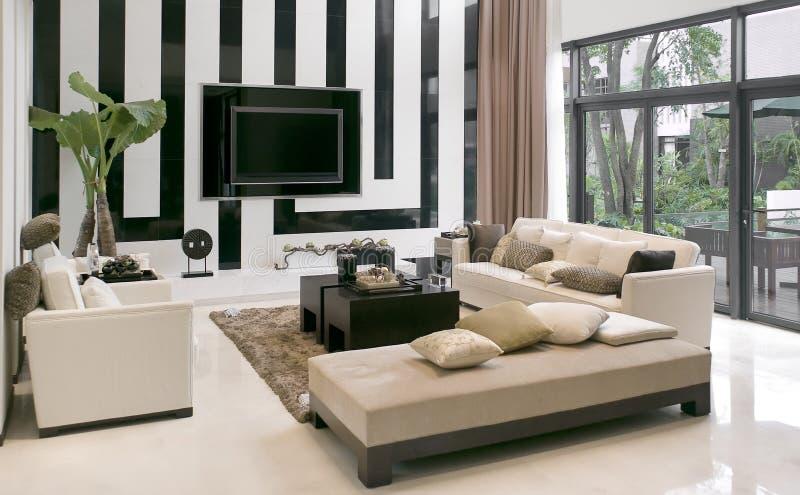 комната мебели живя самомоднейшая стоковые изображения rf