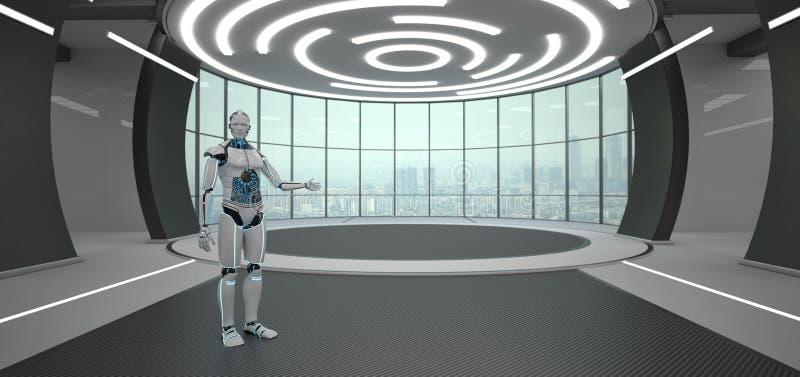 Комната приглашения робота футуристическая иллюстрация вектора