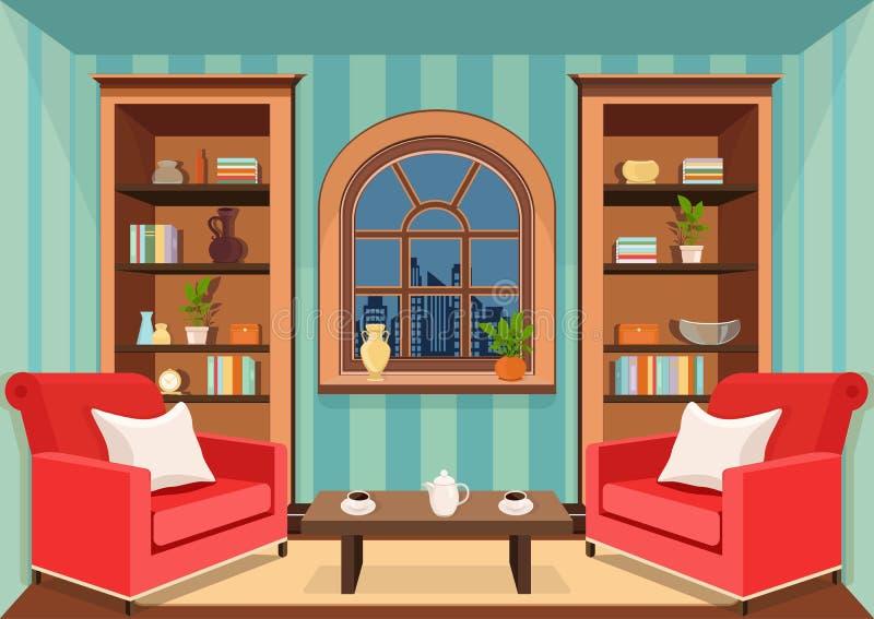 Комната при большое окно обозревая город вечера, плоско внутренний, красочный чертеж, иллюстрацию вектора живущая комната с cabi иллюстрация вектора