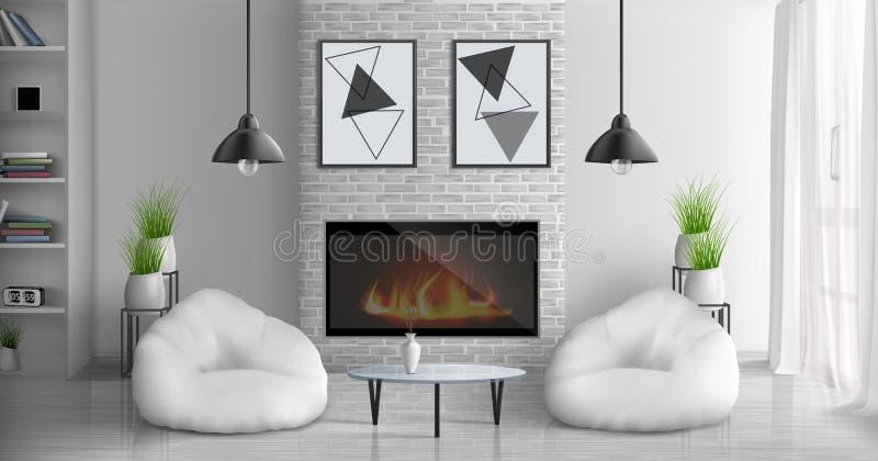 Комната прожития дома с интерьером вектора камина бесплатная иллюстрация