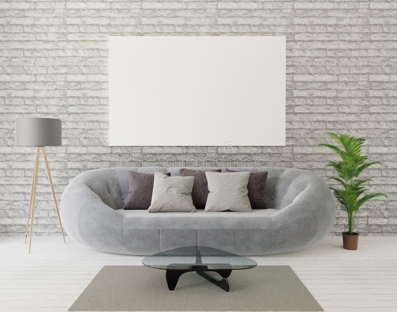 комната прожития просторной квартиры перевода 3d с серой софой, лампой, деревом, кирпичной стеной, ковром, рамкой anf для насмешк иллюстрация штока