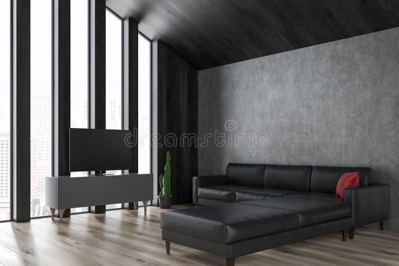 Комната прожития чердака, ТВ и софа бесплатная иллюстрация