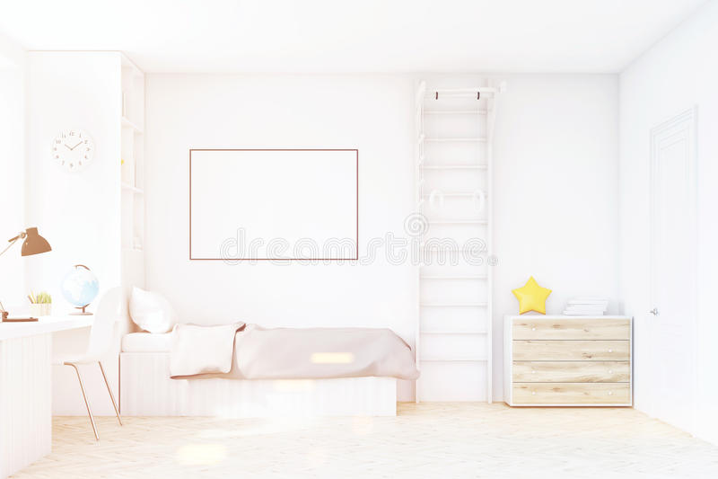 Комната ребенка при тонизированные кровать и таблица, иллюстрация штока