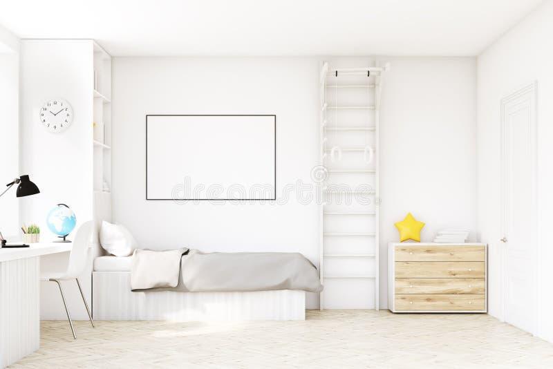 Комната ребенка с кроватью и таблицей иллюстрация штока