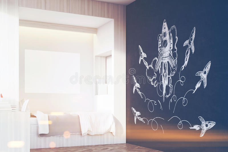 Комната ребенка, угол, тонизированная ракета, иллюстрация вектора