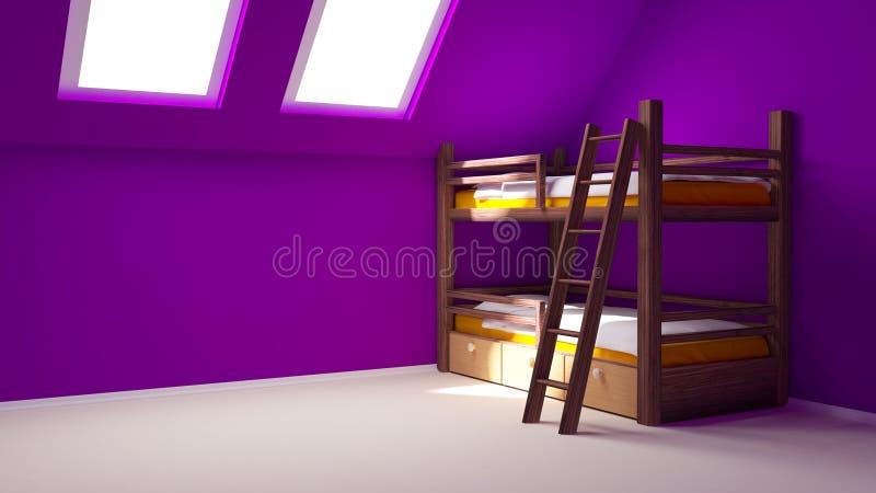 комната ребенка чердака иллюстрация вектора