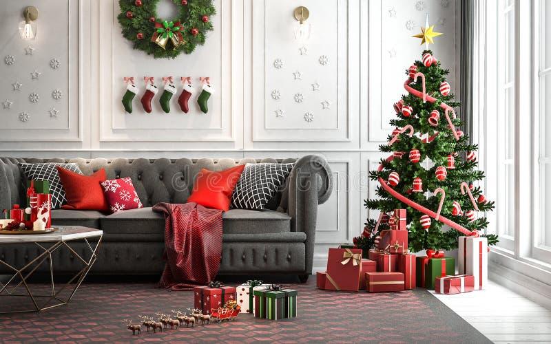 Комната рождества живущая с рождественской елкой и настоящими моментами вниз i стоковые изображения rf