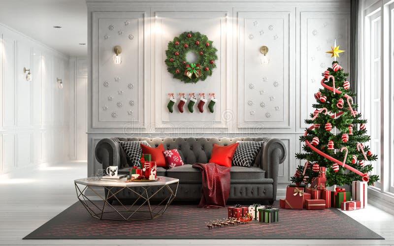 Комната рождества живущая с рождественской елкой и настоящими моментами вниз i стоковое изображение rf