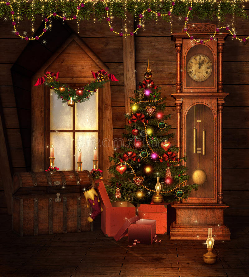 комната рождества старая иллюстрация штока