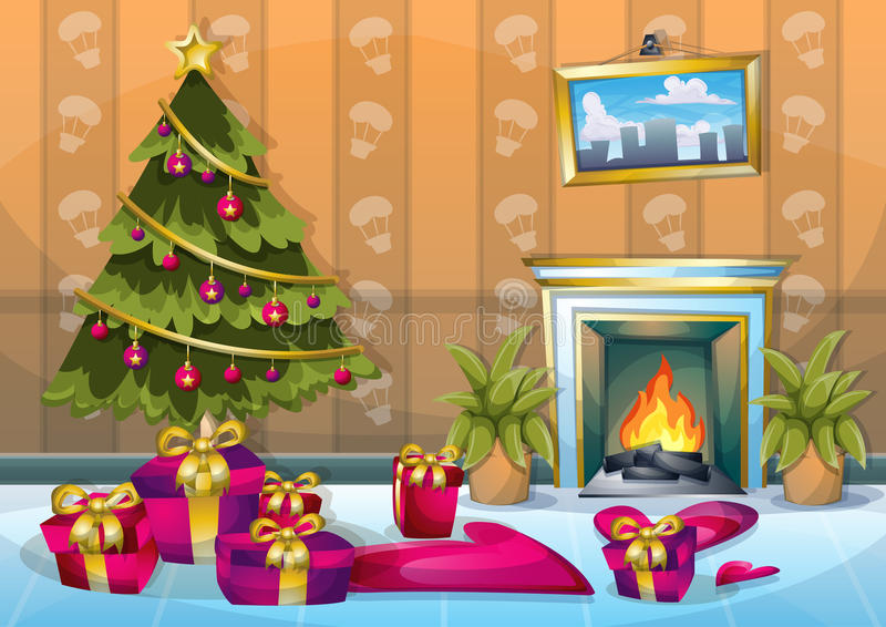 Комната рождества иллюстрации вектора шаржа внутренняя с отделенными слоями иллюстрация вектора