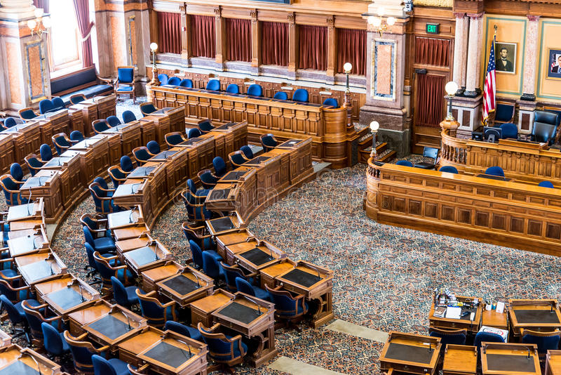 Комната сената капитолия положения Des Moines Айовы стоковое изображение