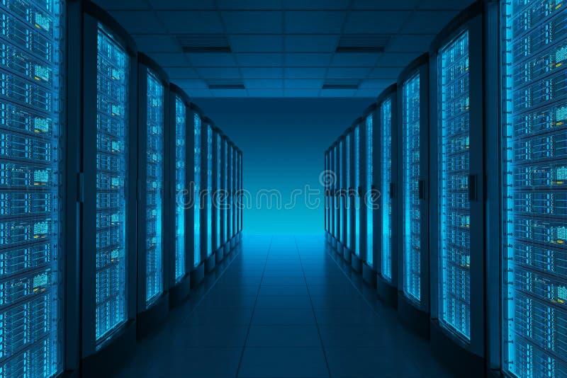 Комната сервера в datacenter иллюстрация вектора