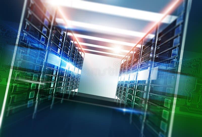 Комната серверов хостинга иллюстрация вектора