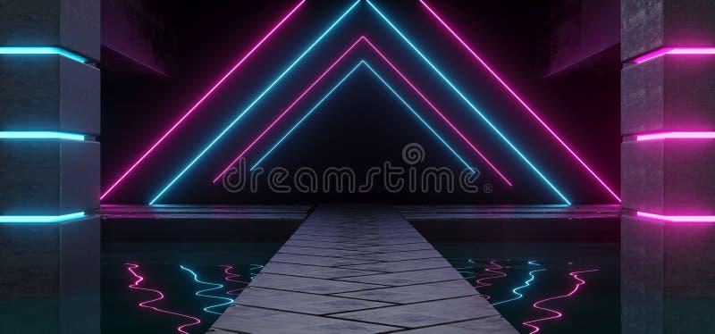 Комната современного футуристического темного пустого корабля чужеземца конкретная с водой иллюстрация вектора