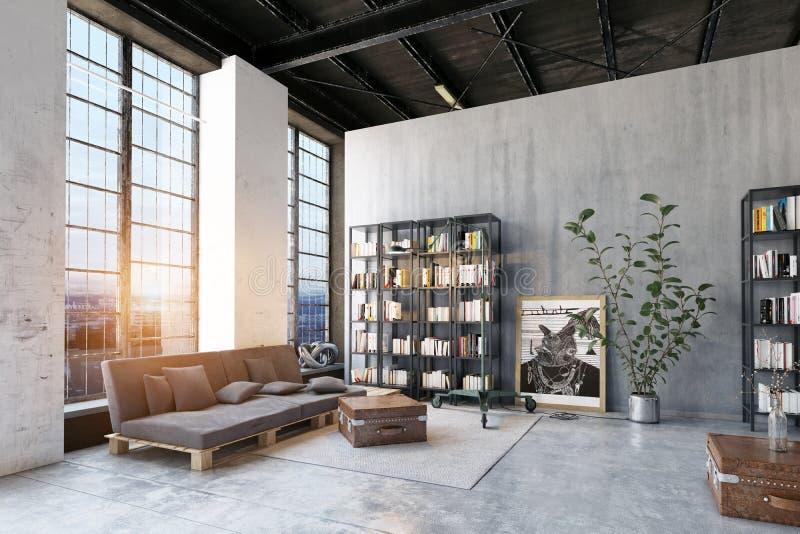 Комната современной просторной квартиры lving иллюстрация штока