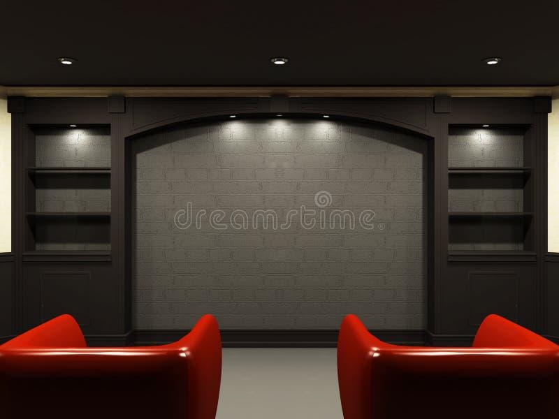 комната стулов живя красная иллюстрация вектора