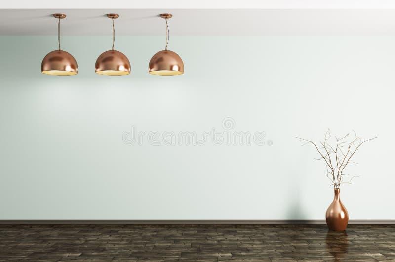 Комната с лампами металла латунными и переводом вазы 3d бесплатная иллюстрация
