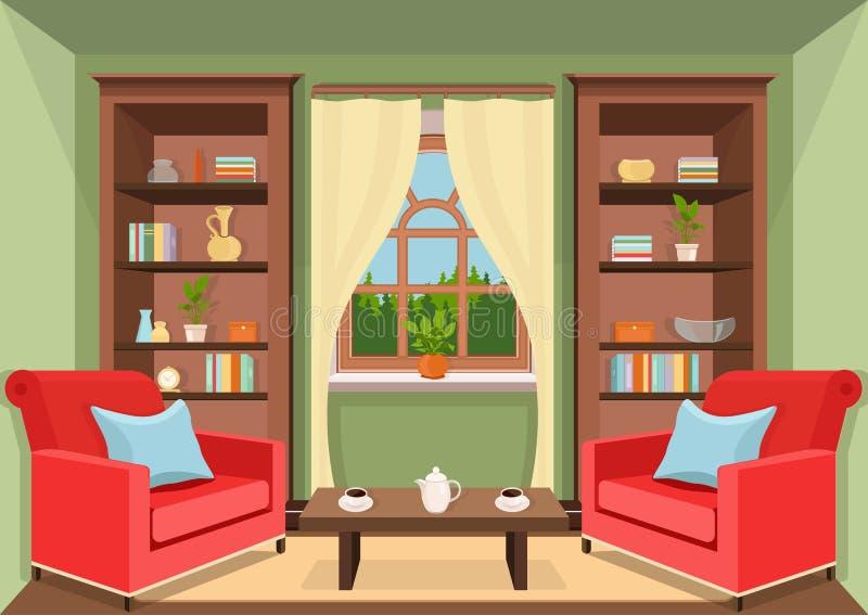 Комната с большим взглядом окна и леса, плоско внутренним, красочным чертежом, иллюстрацией вектора живущая комната с шкафами с к иллюстрация штока