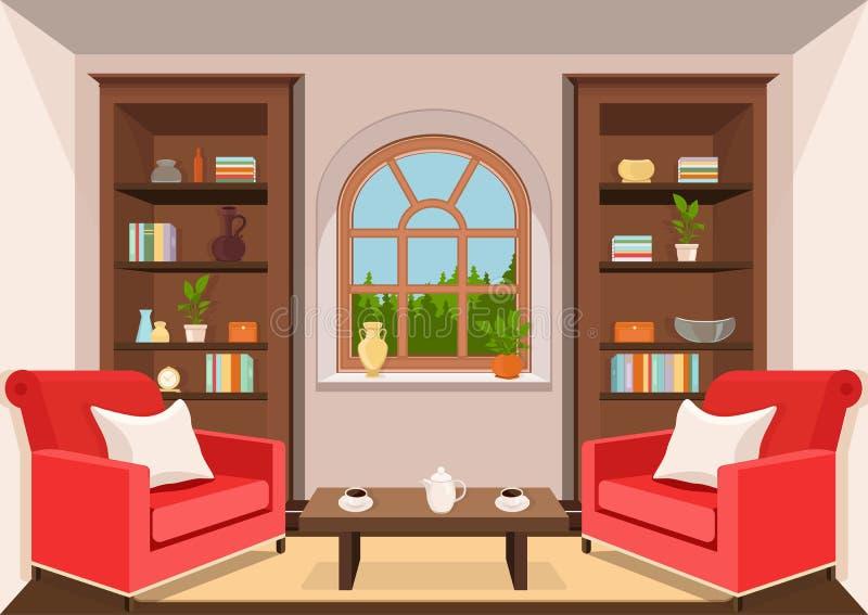 Комната с большим взглядом окна и леса, плоско внутренним, красочным чертежом, иллюстрацией вектора живущая комната с шкафами с к бесплатная иллюстрация
