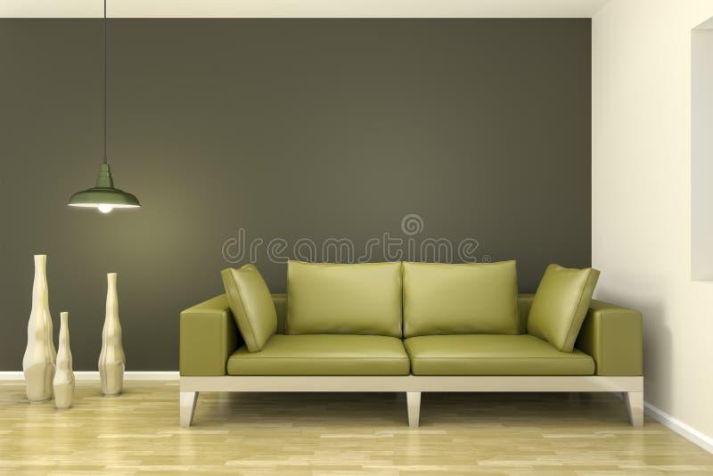 Комната с зеленой софой бесплатная иллюстрация