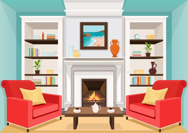 Комната с камином, плоско внутренним, красочным чертежом, иллюстрацией вектора живущая комната с горя огнем, шкафами с вазами, ши бесплатная иллюстрация