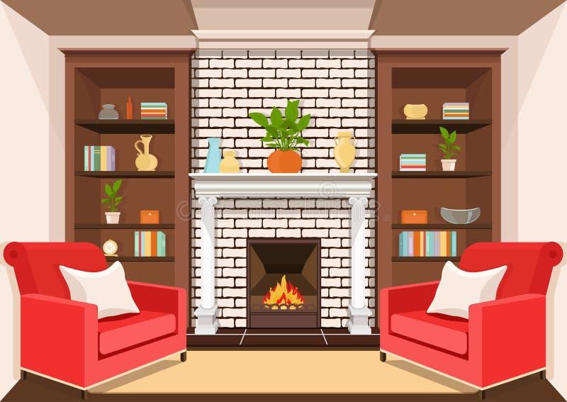 Комната с камином, плоско внутренним, красочным чертежом, иллюстрацией вектора живущая комната с горя огнем, шкафами с вазами, ши иллюстрация вектора