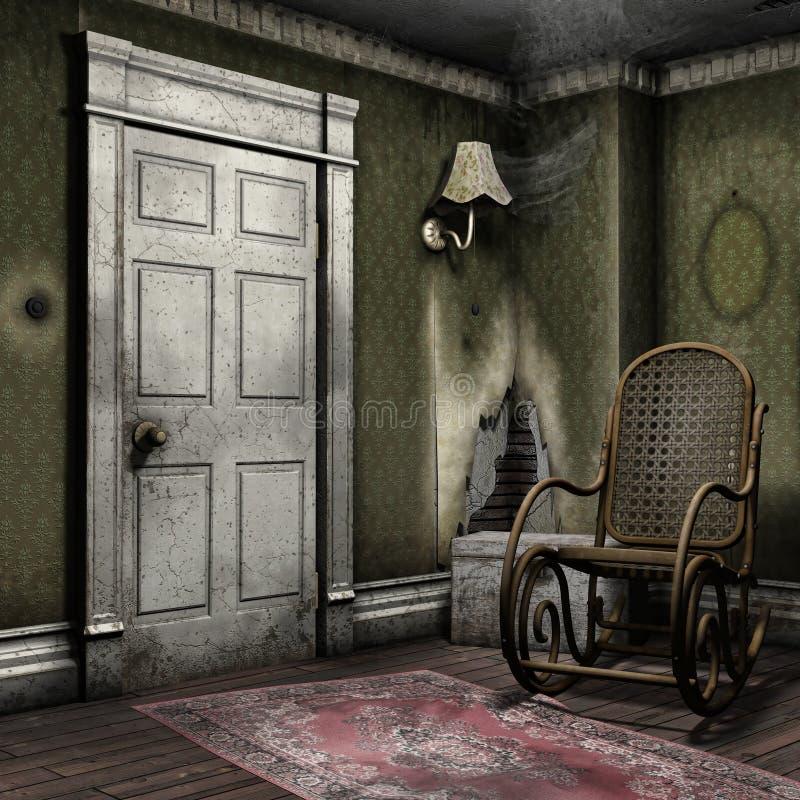 Комната с кресло-качалкой иллюстрация вектора
