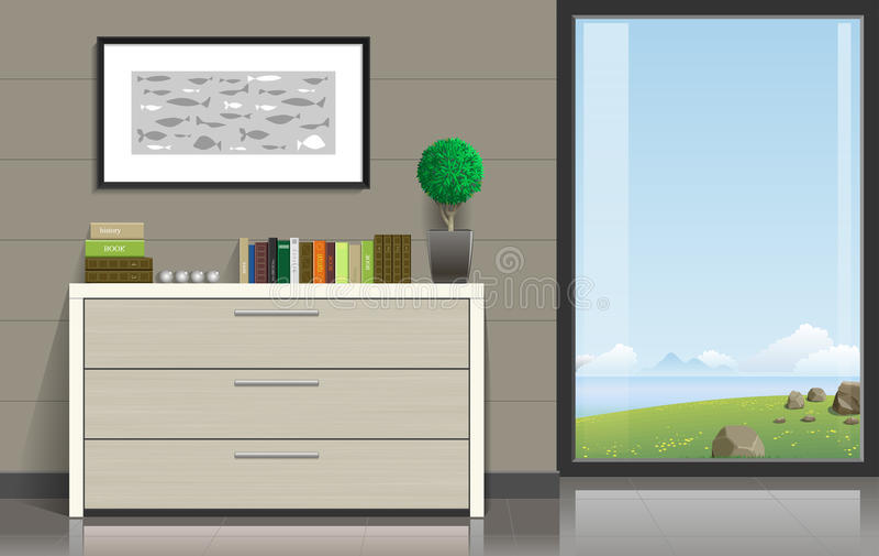 Комната с окном иллюстрация штока