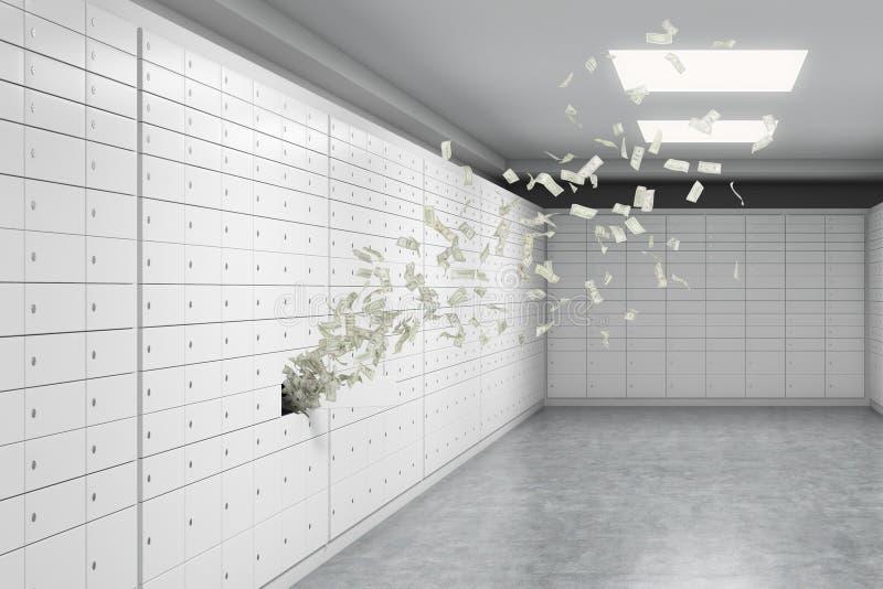 Комната с сейфами и примечаниями доллара летает вне от одной коробки Концепция хранить важных документов или valuab иллюстрация штока