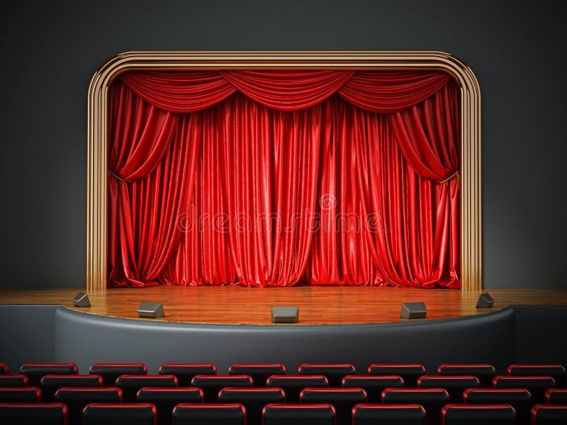 Комната театра с красными seatings иллюстрация 3d иллюстрация вектора