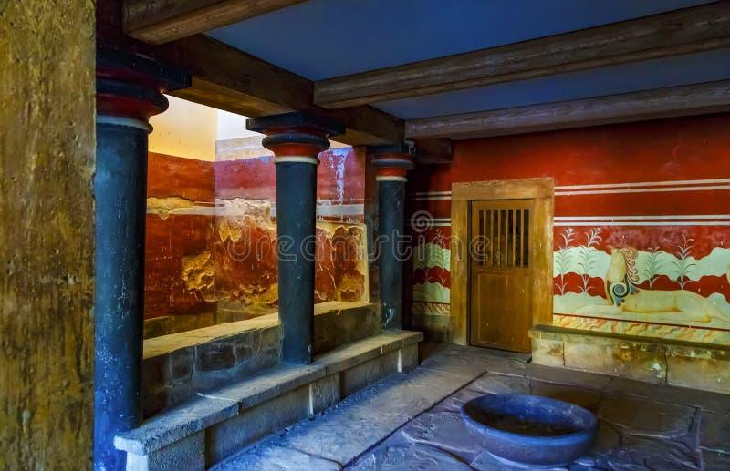 Комната трона во дворце Minoan Knossos, острова Крита стоковое фото
