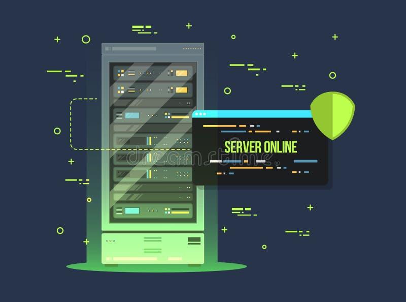 Комната центра данных и сервера Иллюстрация квартиры хранения данных и обменного сервиса Оборудование обслуживания облака с управ иллюстрация вектора